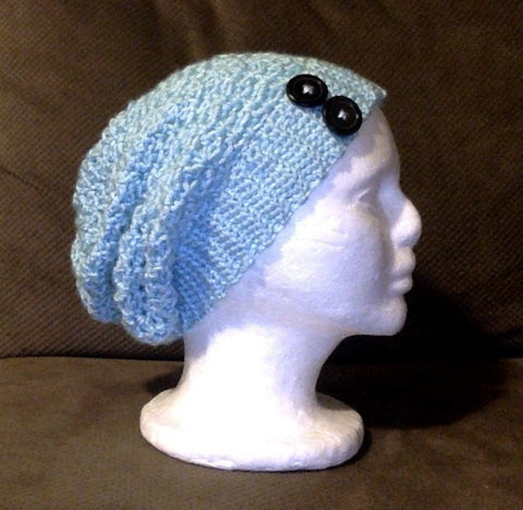 Crochet baby blue slouch hat with 2 buttons, womens, girls, multiple sizes, handmade