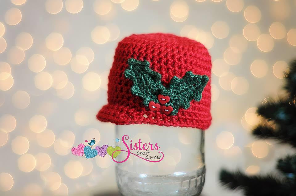 Red Crochet Christmas hat - Mistletoe Newsboy Cap - Christmas Holly Leaves Berries - Winter hat - Baby Holiday hat - Newborn Photo Prop