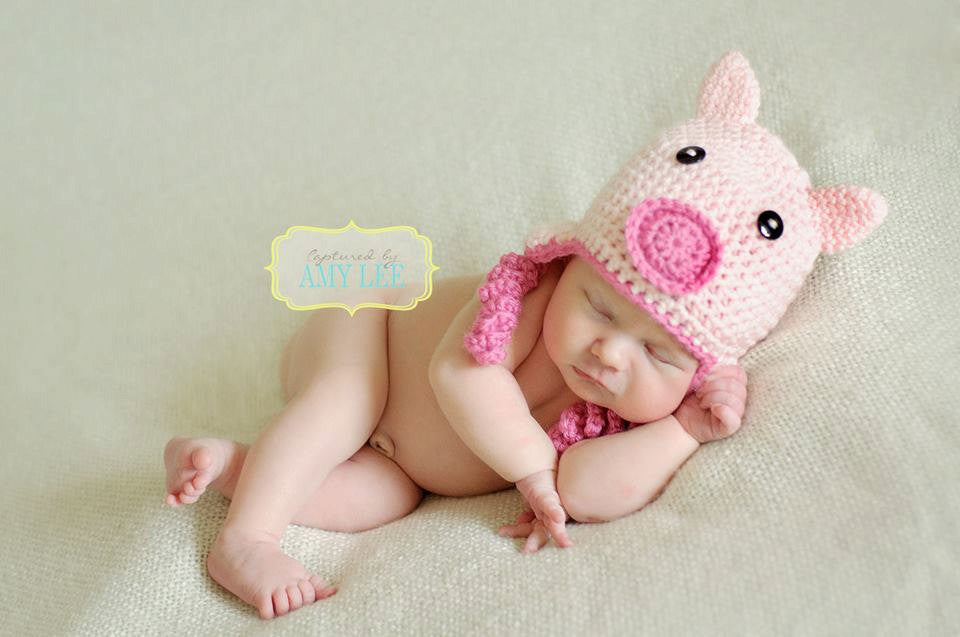 Crochet Baby Pig Hat - Pink Little Piggy Hat - Piglet Farm Animal Hat