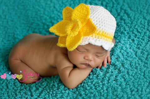 Crochet Daffodil Hat - Baby Girl Spring Flower Beanie - Newborn Photography - Easter Hat