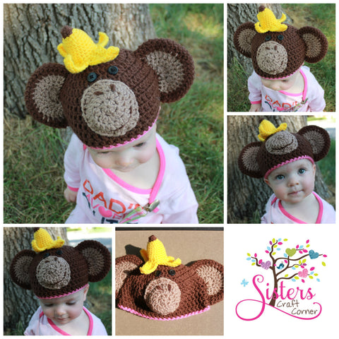 Crochet Baby Monkey Hat Diaper Cover With Tail Set Newborn Photo