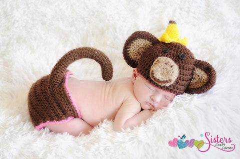 Crochet Baby Monkey Hat & Diaper Cover with Tail Set -  Newborn Photo Prop - Banana - Monkey Costume