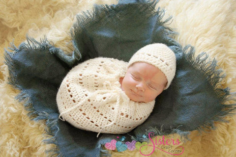 Newborn Crochet Swaddle Sack & Hat Set - Snuggle Sack - Newborn Photo Prop - Crochet Cocoon - Newborn Photography - Unisex Baby Shower Gift