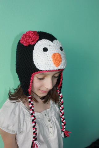 Crochet Penguin Hat - Child Penguin Hat - Animal Hat - Unisex Baby Shower Gift - Crochet Winter Hat