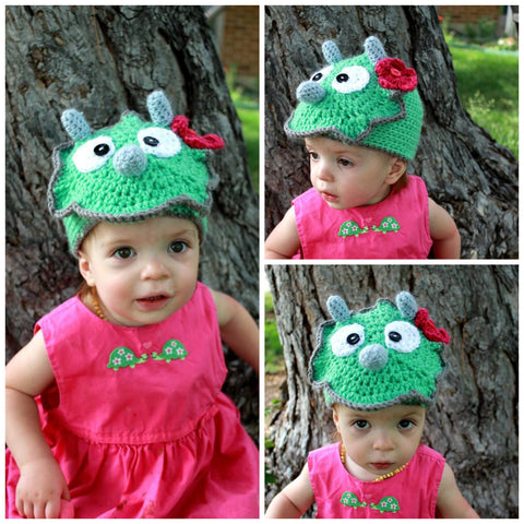 Dinosaur beanie, triceratops, flower, baby girl, toddler, child size,with/without flower, halloween, costume, photo prop