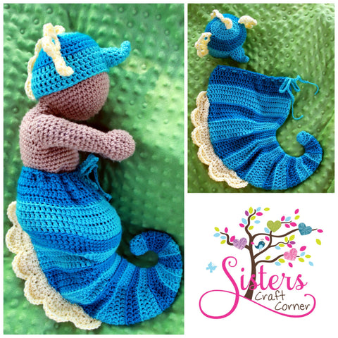 Crochet Baby Seahorse Hat and Cocoon Set - Newborn Photo Prop - Newborn Halloween Costume -