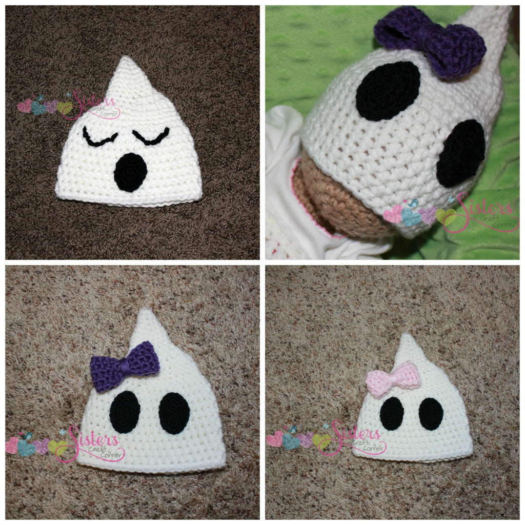 Crochet Ghost Hat - Halloween Hat - Cute Spooky Ghost Hat - Newborn Photo Prop - Baby Ghost Hat - Halloween Costume - Child Ghost Hat