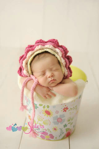 Crochet Baby Flower Bonnet - Newborn Bonnet - Baby Flower - Newborn Photo Prop - Spring - Summer