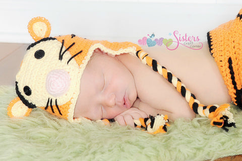 Crochet Tiger Hat - Baby Tiger Hat - Newborn Photo Prop - Baby Hat - Newborn Crochet Hat - Character Tiger Hat - Tiger Halloween Costume Hat