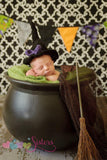 Crochet Witch Hat - Black Witch Hat - Crochet Witch Costume Hat - Halloween Hat -  Newborn Photo Prop - Baby - Newborn Halloween Costume