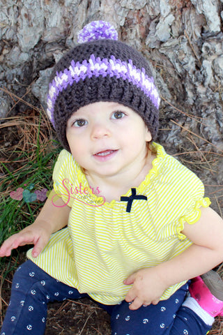 Crochet Winter Beanie with Pom-Pom - Winter Hat - Basic Beanie - Girls Crochet Hat - Boys Crochet Hat - Spike Stitch Hat - Baby, Child Hat