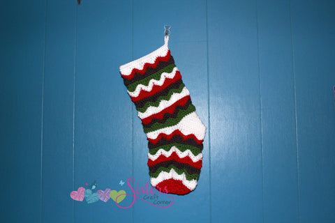 Crochet Christmas Stocking - Chevron Holiday Stocking - Crochet Stocking - Custom Order Stocking - Custom Color Stocking - Christmas Sock