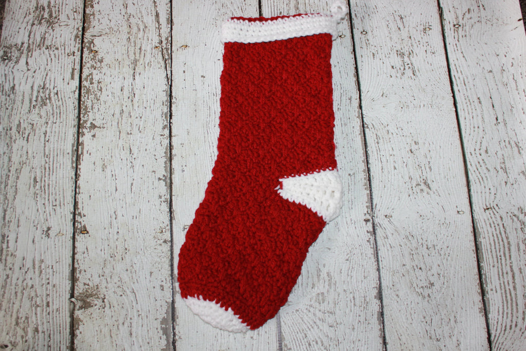 Crochet Christmas Stocking - Textured Crocheted Stocking - Crochet Stocking - Custom Made Stocking - Holiday Stocking - Christmas Sock