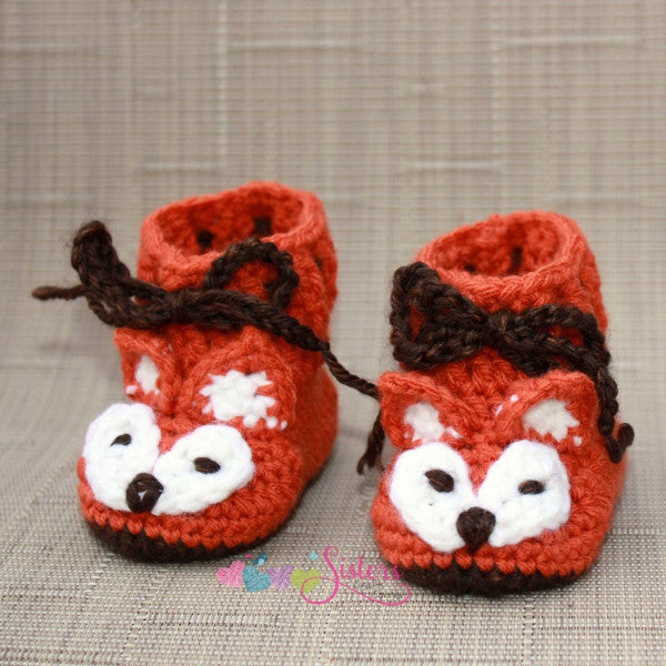 Rustic Orange Crochet Fox Baby Booties Shoes
