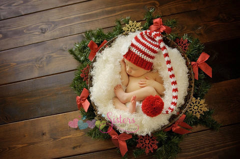 Crochet Baby Elf Hat - Striped Stocking Hat - Baby Stocking Cap - Christmas Elf Hat - Long Tail Crochet Hat - Candy Cane Stripe Elf Hat