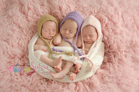 Newborn Crochet Baby Bonnet Photo Prop or Baby Shower Gift Baby Girl