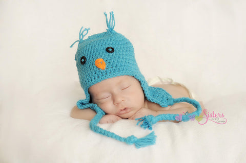 Crochet Baby Bluebird hat - Newborn Bird Hat - Spring Bird Hat - Unisex Baby Shower Gift