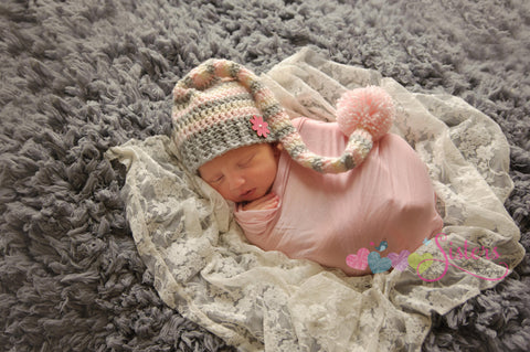 Crochet Baby Stocking Cap - Striped Hat - Baby Elf Hat - Long Tail Crochet Hat - Stripe Tail Hat - Boy or Girl - Baby Gift - Photo Prop