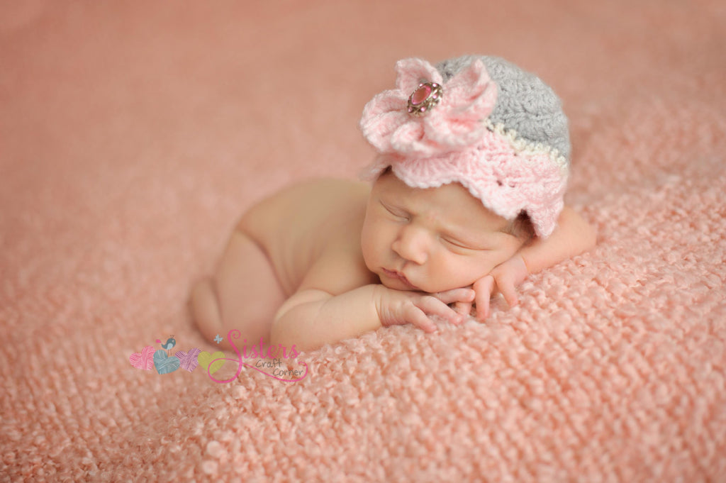 Crochet Shell Hat - Newborn Photography - Spring Flower Hat - Flower Photo Prop - Baby Crochet Hat - Baby Girl Hat - Newborn Hat - Baby Gift