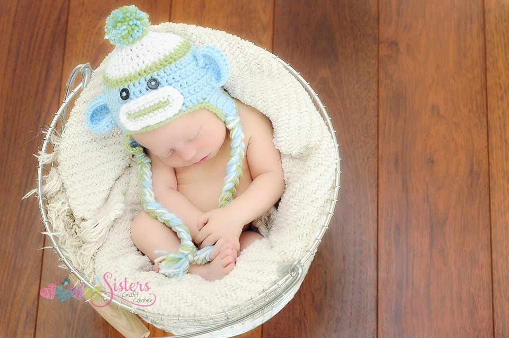 Crochet Baby Boy Sock Monkey Hat Newborn Photo Prop Sisters