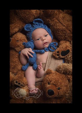 Crochet Bear Bonnet and Teddy Bear Set - Crochet Baby Bonnet - Baby Bear - Newborn Photo Prop - Baby Boy - Crochet Bonnet - Handmade Bear