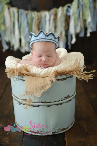 Crochet Prince Crown - Newborn Crown - Baby Boy Crown - Crochet Crown - Baby Crown - Newborn Photo Prop - Baby King Crown - Newborn Prince