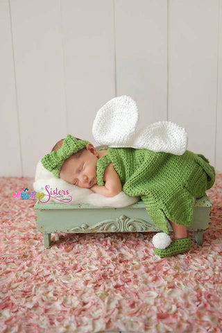 Tinkerbell, Fairy, baby girl dress, Photo Prop, Halloween, newborn pictures, Peter Pan, Crochet dress, headband, shoes, Wings