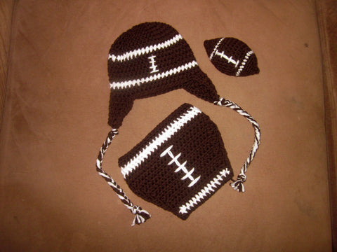 Crochet Football Hat Diaper Cover Set - Newborn Football Set - Football Photo Prop Set - Mini Crochet Football - Baby Shower Gift - Baby Boy