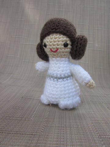 Princess Leia Crochet Doll - Amigurumi - Newborn Photo Prop - Crochet Princess Leia - Plush Toy - Crochet Figure - Princess crochet Doll