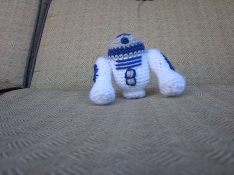 R2-D2 Crochet Doll - Droid Amigurumi - Newborn Photo Prop - Crochet R2-D2 - Robot Plush Toy - Crochet Figure - crochet R2D2 Doll Figurine