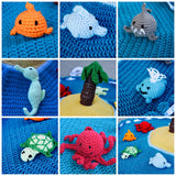 octopus- stuffed animal- sea creature- ocean theme- beach theme- diaper bag toy- toddler toy- baby toy- crochet- amigurumi- beach toy- fish