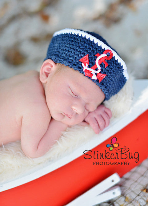 Crochet Navy Sailor Hat - Newborn Sailor Hat - Boy Baby Shower Gift - Nautical Hat