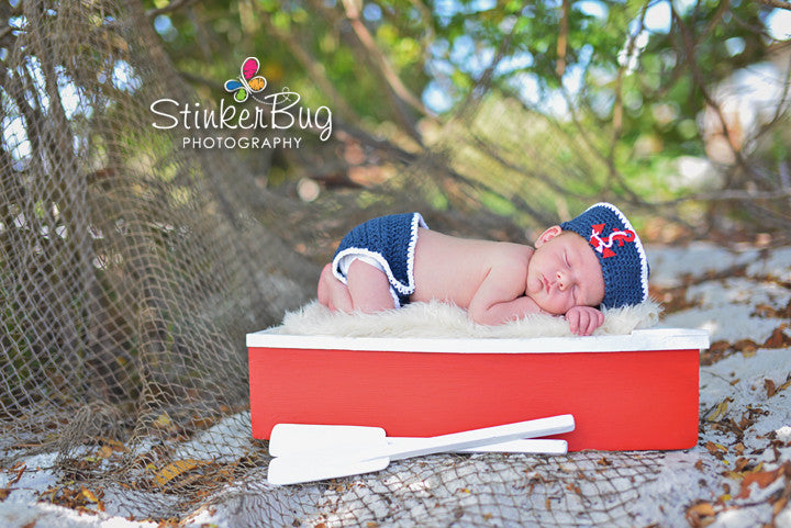 Navy Sailor Baby Hat and Diaper Cover Set