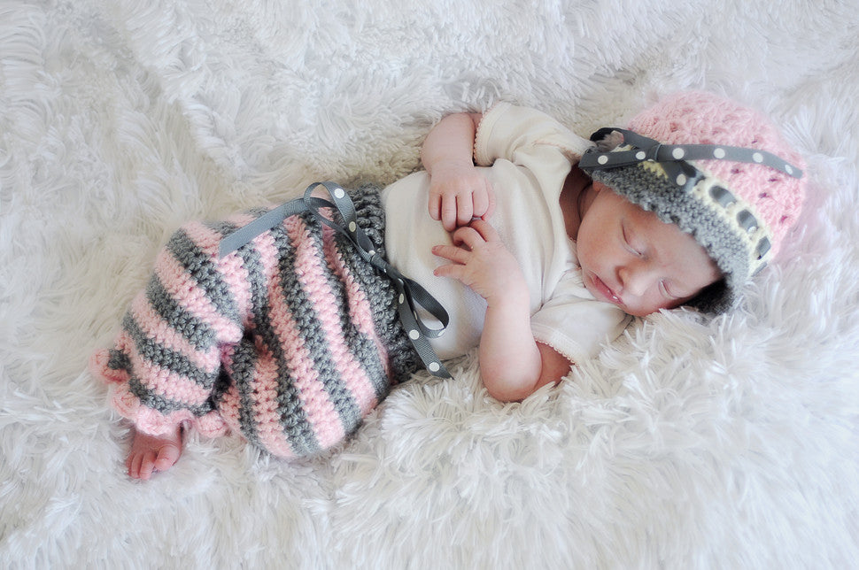 Baby Girl Coming Home Outfit with Crochet Hat and Striped Crochet Pants