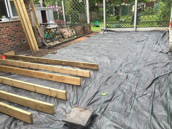 GroundTex Heavy Duty Weed Control Fabric Used Under Decking and Gravel To Control Weeds