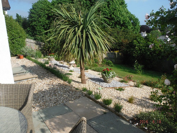 Using GroundTex Heavy Duty Weed Membrane and garden stones to reduce weeds - pic1
