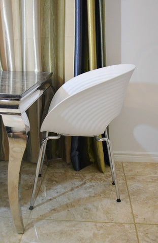 White Shell Cafe Bistro Designer Modern Restaurant Stacking Chair