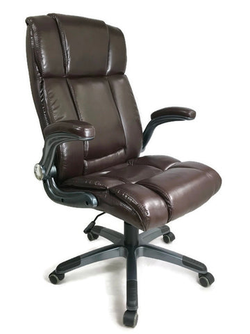 Luxury High Back Executive Office Chair Ergonomic Design Adjustable Arms Brown PU Leather