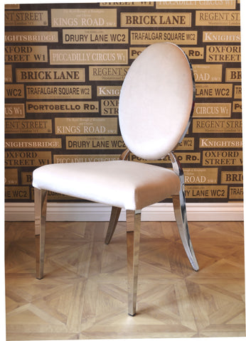 Luxury Beige Cream Oval Back Glamour Chrome Art Deco Shabby Chic Wedding Reception Dressing Dining Chair