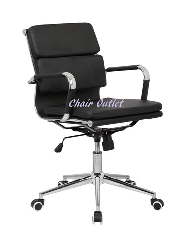 Black Designer Soft Pad Computer Desk Contemporary Conference Boardroom Reception Charles Meeting Office Chair