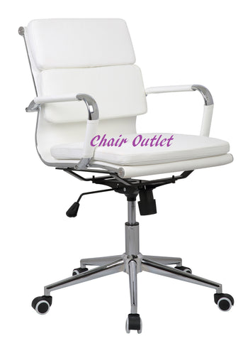 White Designer Soft Pad Computer Desk Contemporary Conference Boardroom Reception Charles Meeting Office Chair