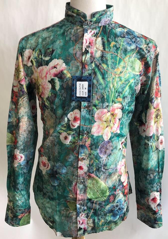 Lanzzino Floral Print Long Sleeves Party Casual Green Shirt