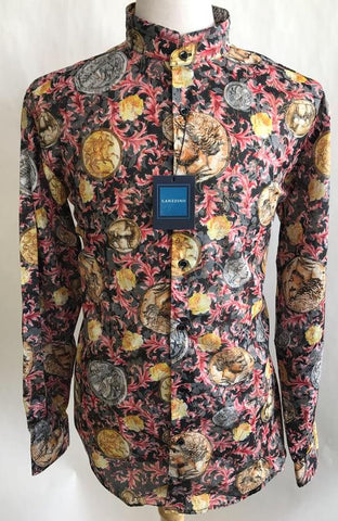 Lanzzino Floral Medusa Print Long Sleeves Casual Black Shirt