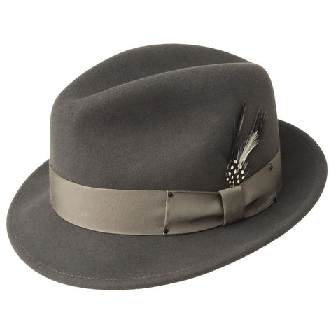Men's Bailey Of Hollywood Litefelt Wool Center Dent Tino 7001 Fedora Basalt Grey