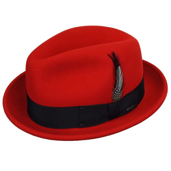 Men's Bailey Of Hollywood Litefelt Wool Center Dent Tino 7001 Fedora Red