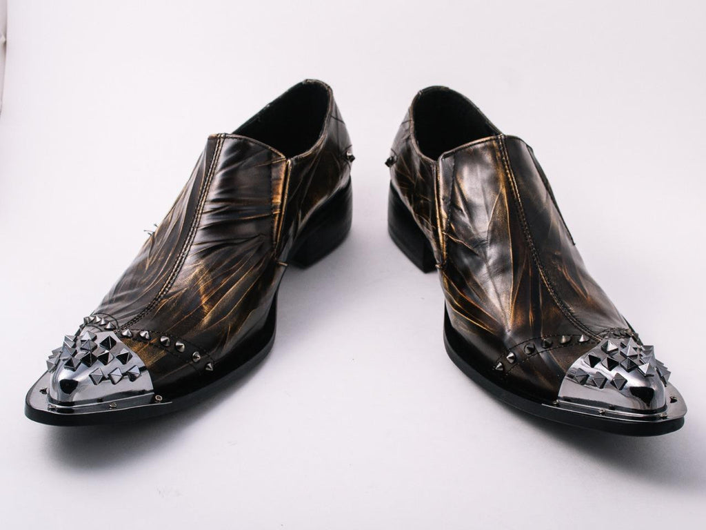 Fiesso Pointed Metal Toe Slip on Shoes