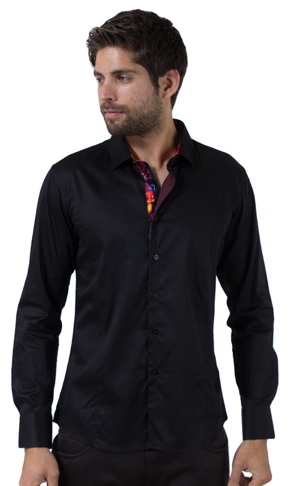 Barabas Cotton Glossy Black/Rouge Slim Fit Button Down Shirt 2026