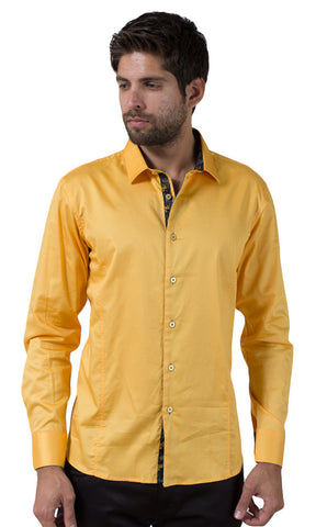 Barabas Cotton Glossy Canary Mustard Slim Fit Button Down Shirt 2026