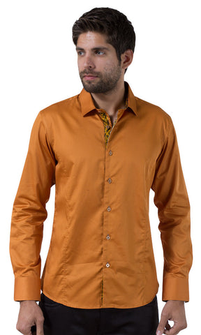 Barabas Cotton Glossy Desert Rust Slim Fit Button Down Shirt 2026