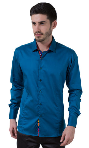 Barabas Cotton Glossy Teal Slim Fit Button Down Shirt 2026